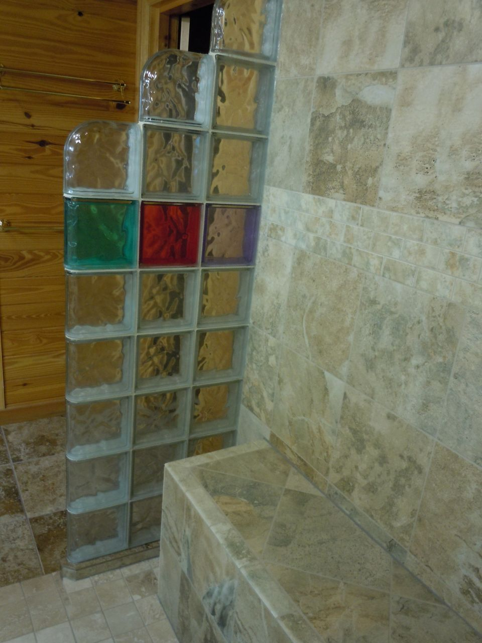Glass block shower in a rustic log home Collins Georgia