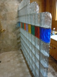 Thinner three inch thick glass block wall with colors and step down design