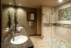 Bathroom remodel with an earth tone color scheme