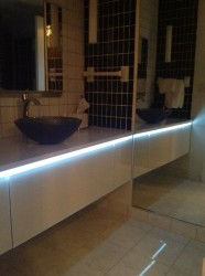 Robern wall mounted glass door cabinets with LED lighting