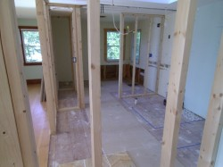 New bathroom during framing stage