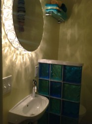 A closet turned into a cool retro half bathroom in Cleveland Heights