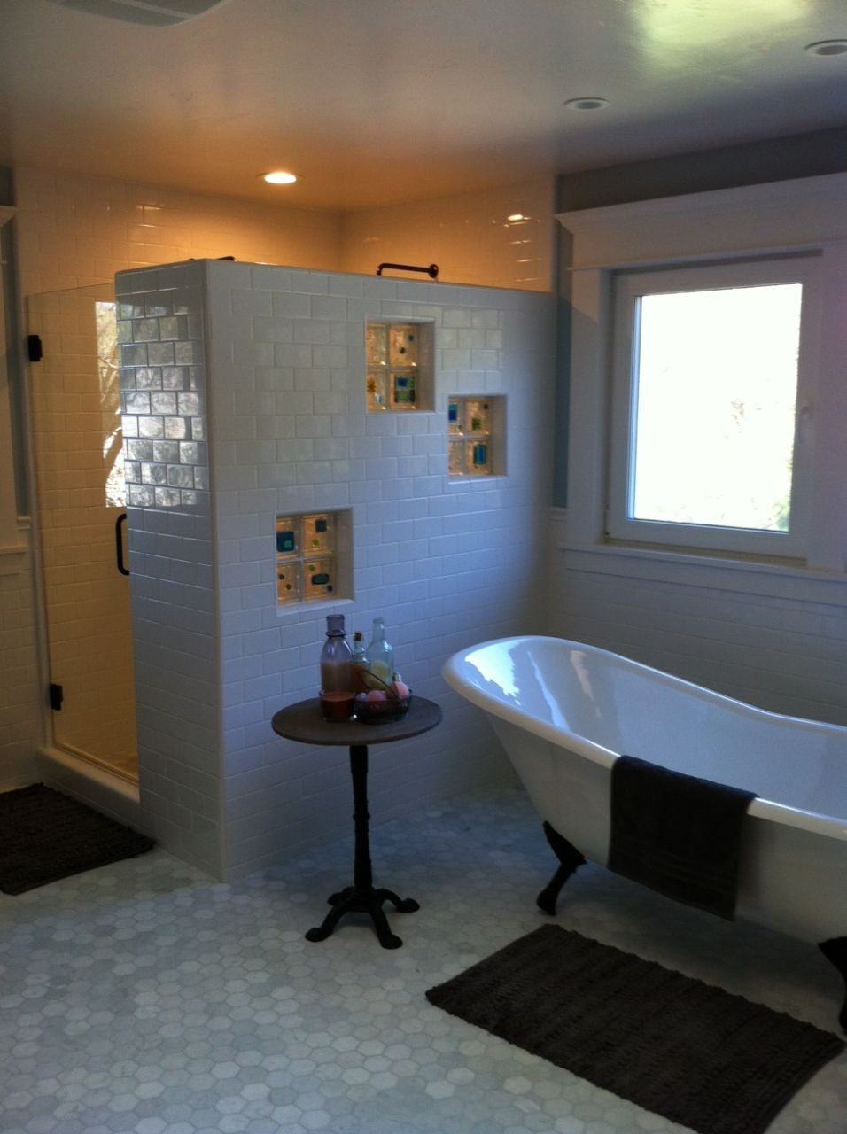 California bath remodel pedestal tub glass tile blocks - Small bathroom remodel with tub ...