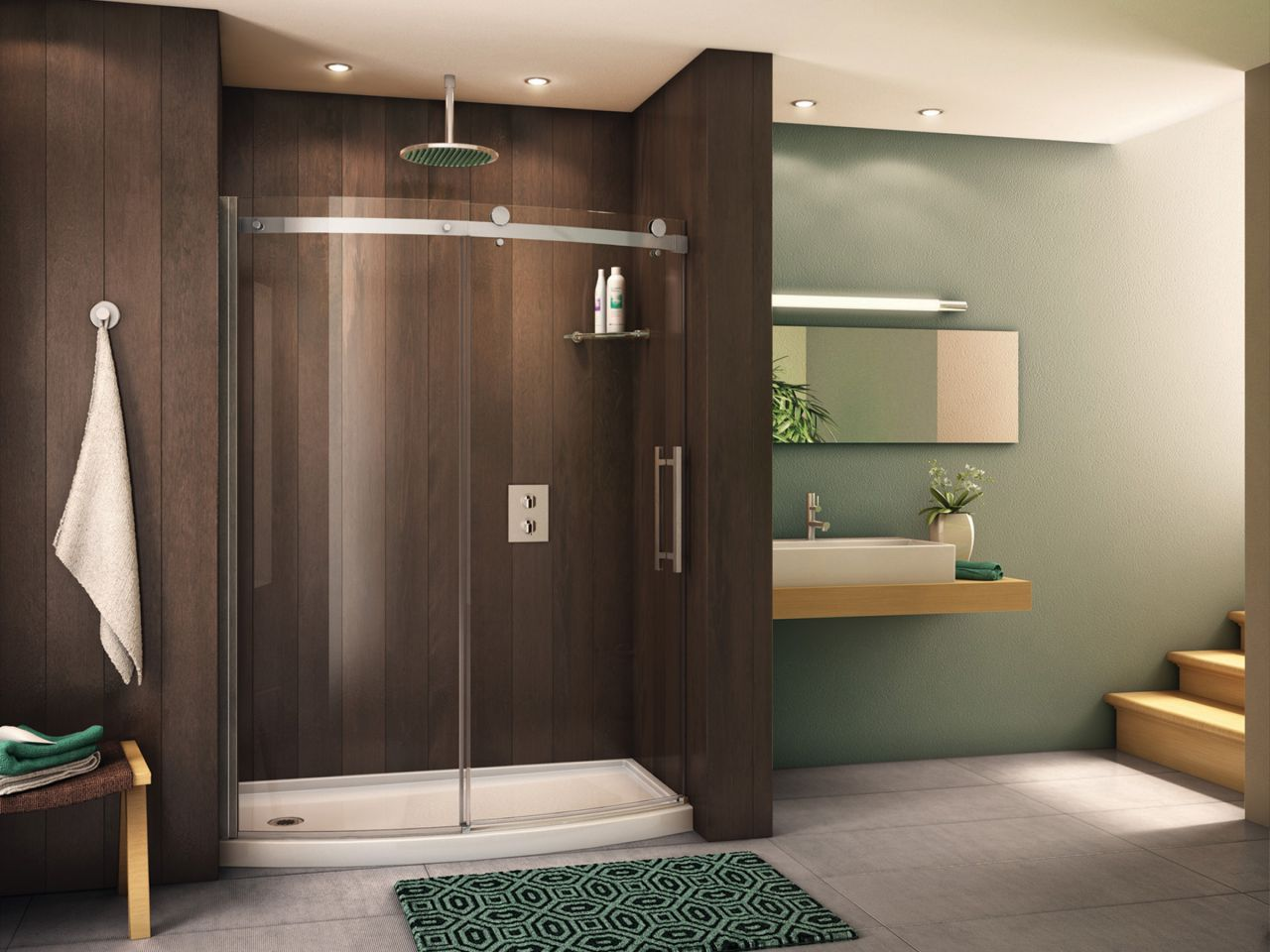 Curved shower door system   Fleurco base. 7 Reasons to Choose a Shower Door over a Shower Curtain