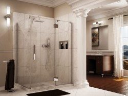 """1/2"""" thick frameless glass shower with views to inside of enclosure"""