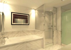 Marble slab tub and shower walls create a luxury look