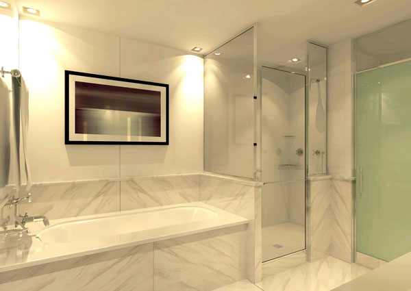Elegant Marble Slab Tub And Shower Walls Create A Luxury Look