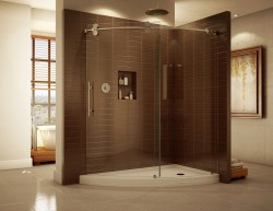 Unique slice base offers an open view to a corner shower enclosure