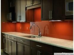 Back painted glass kitchen backsplash