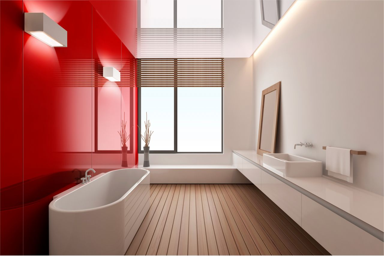 Bathroom walls are accented with red rouge color high gloss panels. High Gloss Acrylic Walls Surrounds for Backsplashes  Tub  amp  Shower