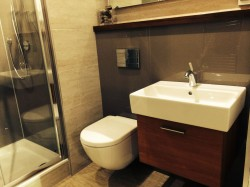 Mocha wall surrounds behind a wall mounted vanity and toilet