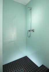 High gloss wall panels in a glacier color