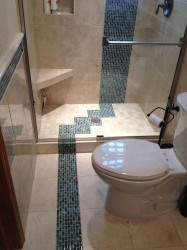 Caribbean glass tiles with 12 x 12 cream marfile marble tiles