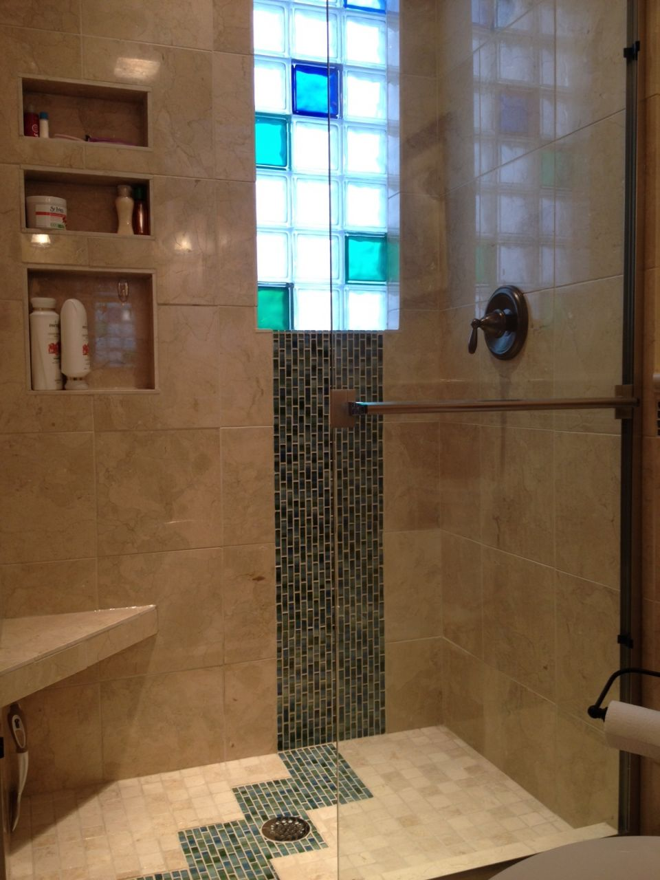 5 x 8 Luxury Bathroom Remodeling Frosted Colored Glass Block