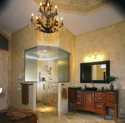No curb high end shower with hand held shower and decorative grab bars
