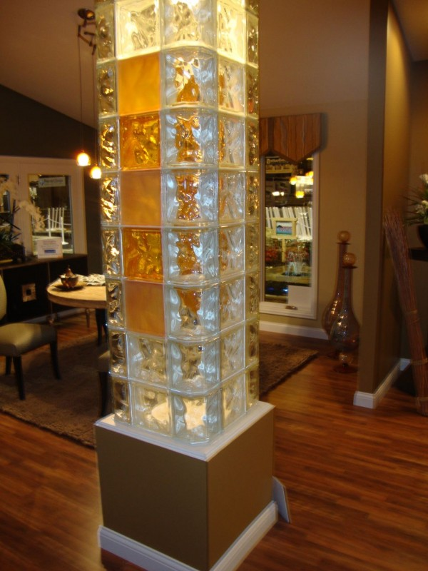 Interior column with colored and frosted glass blocks