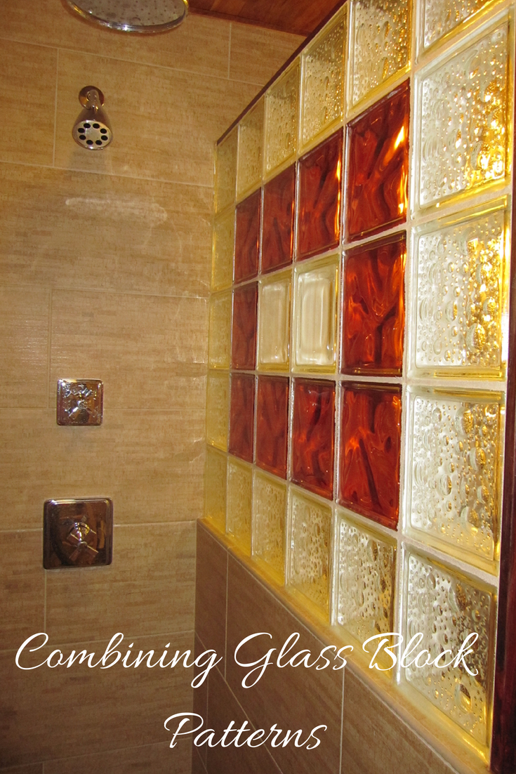 Seascapes And Decora Patterns In A Colored Glass Block Shower Wall