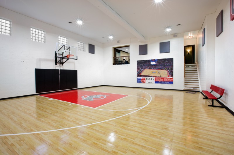 OSU themed home gym basketball court in Columbus Ohio