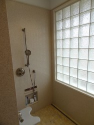 Soap and shampoo niches set lower for wheelchair access