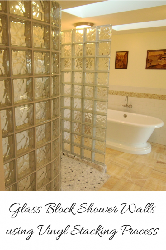 Glass block shower walls using Protect All stack and anchoring system