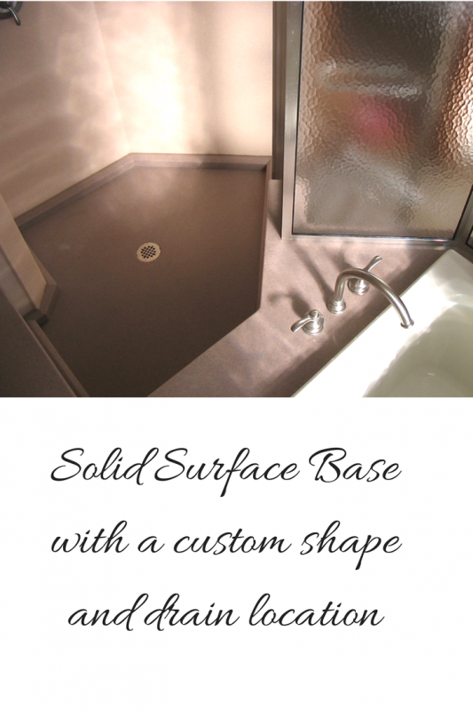 Solid surface base with custom shape and drain location