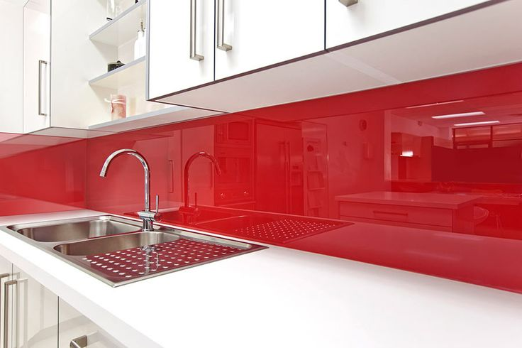 high gloss backsplash in kitchen