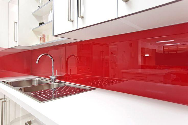 high gloss backsplash in kitchen