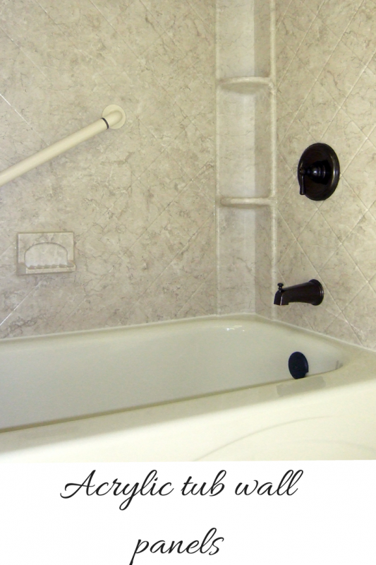 Acrylic tub wall panels brecchia pattern diamond simulated tile