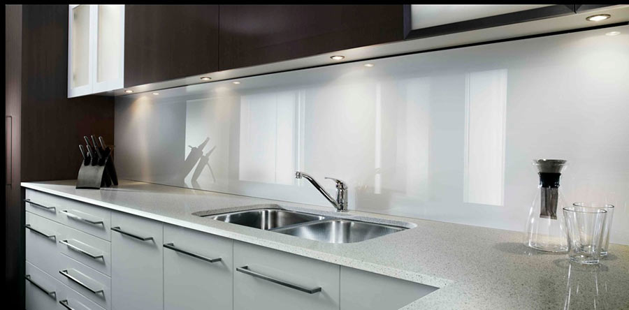 Back painted color coated glass high gloss acrylic wall - Glass wall panels kitchen ...
