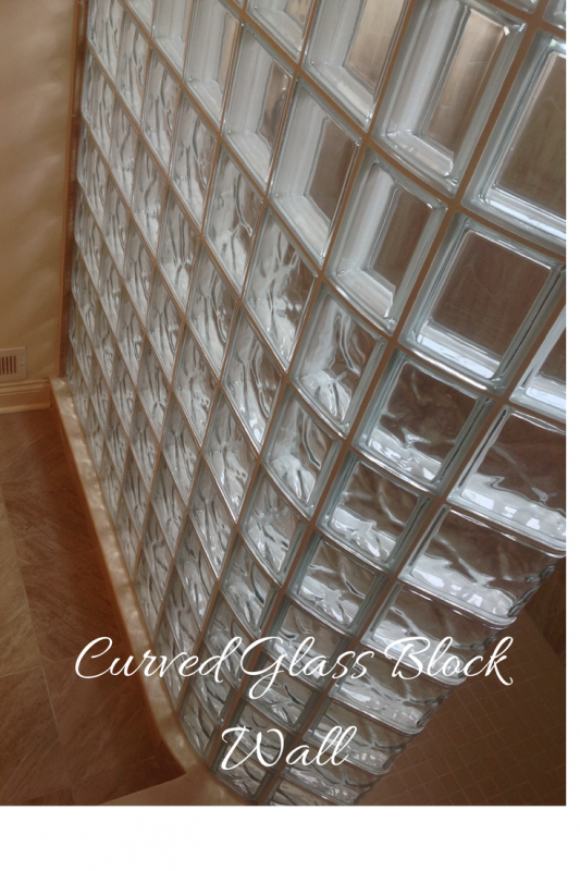 Curved glass block wall layout