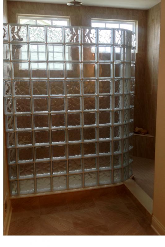 Glass block walk in shower in Truberry Jerome Village model