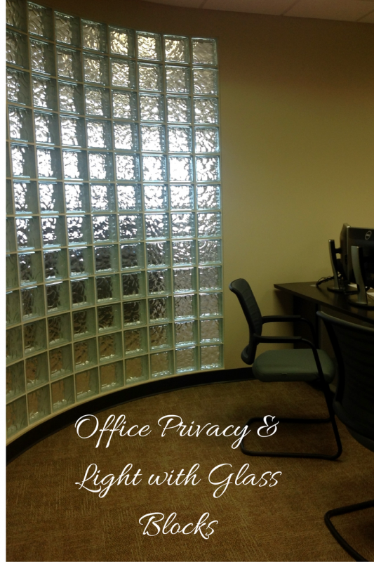 Office privacy and light with glass blocks