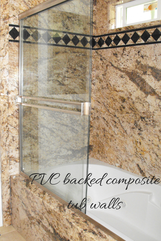 PVC backed composite tub walls golden beaches pattern