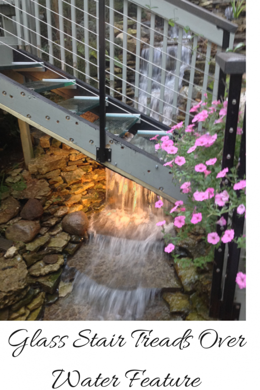 Structural Glass Stair Treads Over Water Feature in Columbus