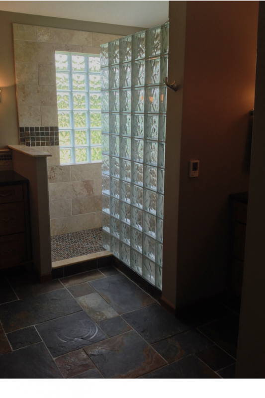 Glass block shower slate floor westerville remodel