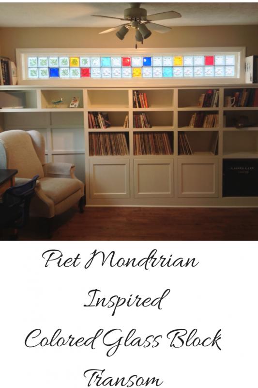 Piet Mondrian Inspired Colored Glass Block Transom
