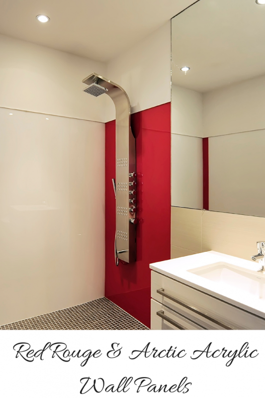 Red rouge and arctic white acrylic wall panels