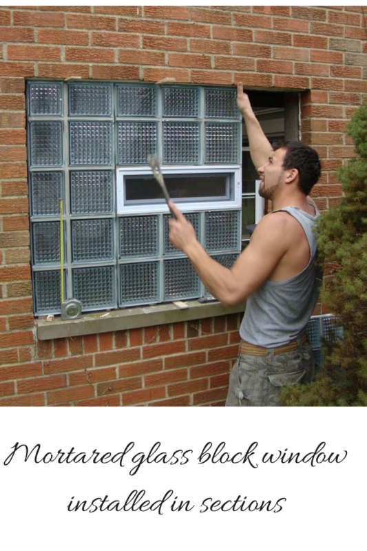 mortated glass block window installed in sections