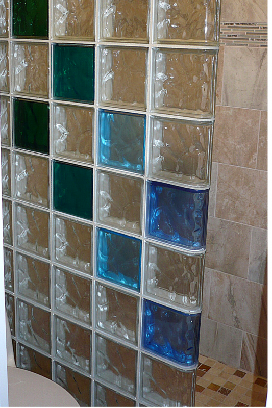 Colored glass block shower wall in Los Alamos New Mexico