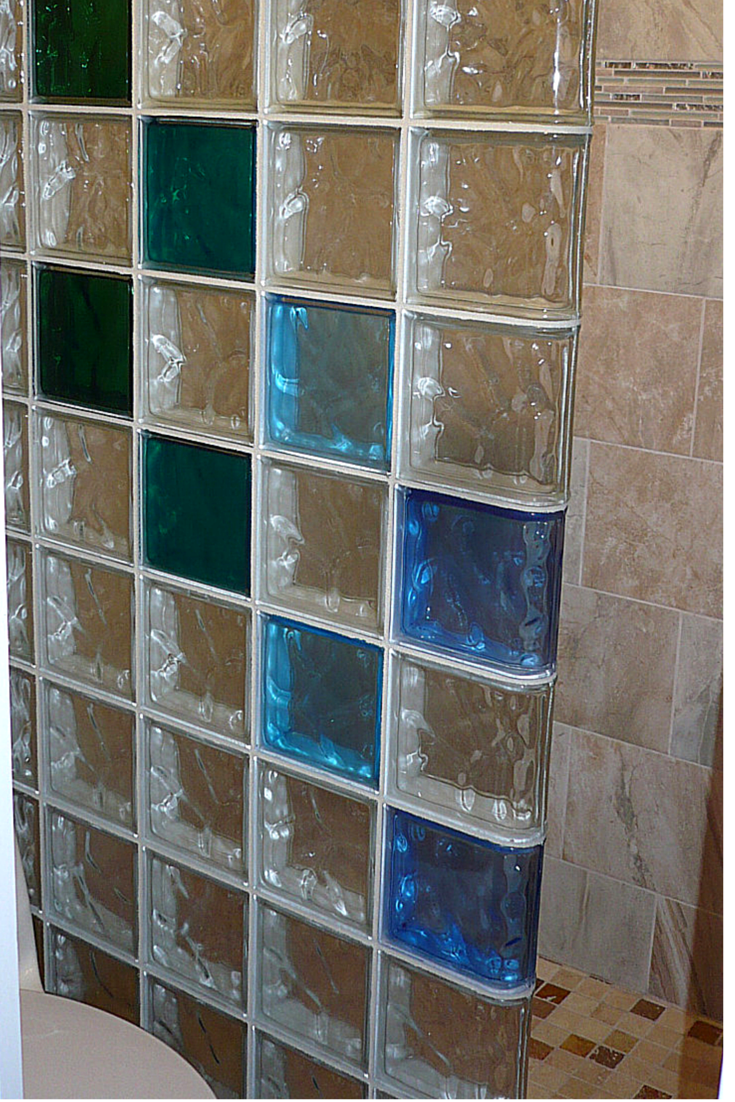 Colored glass block wall provides a stylish and durable alternative for a Los Alamos New Mexico shower remodel