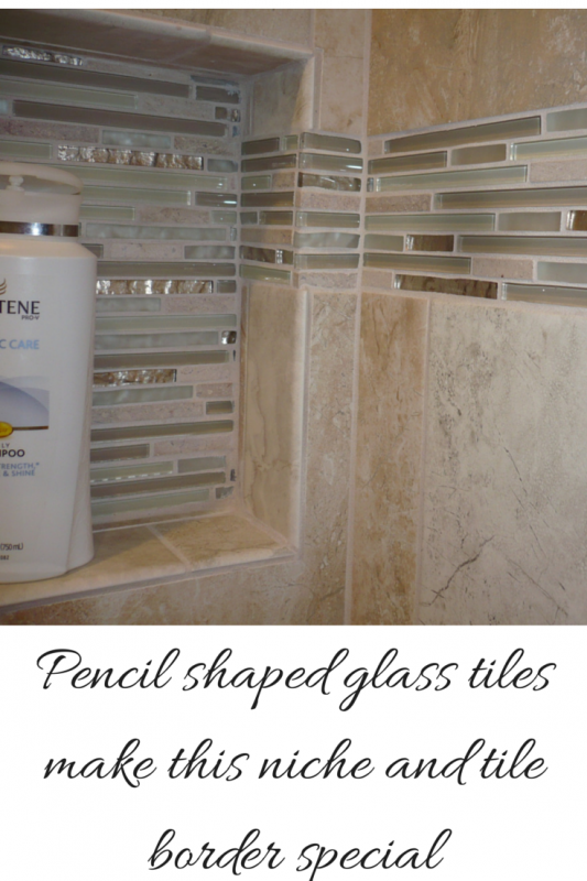 Recessed Niche and Tile Border With cool pencil shaped glass tiles