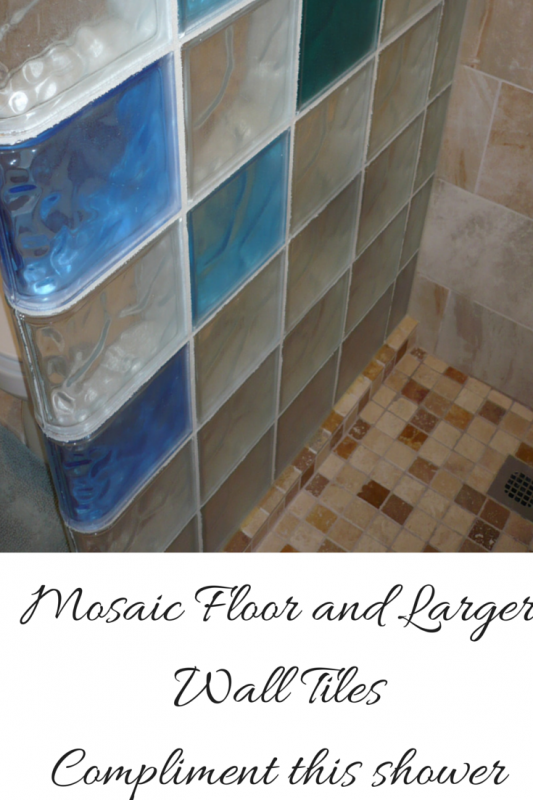 Mosaic Floor Tiles and Larger Wall Tiles for a walk in shower