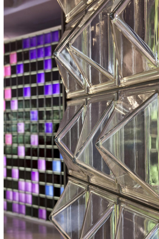 Pyramid and textured glass blocks with a projecting 3D design