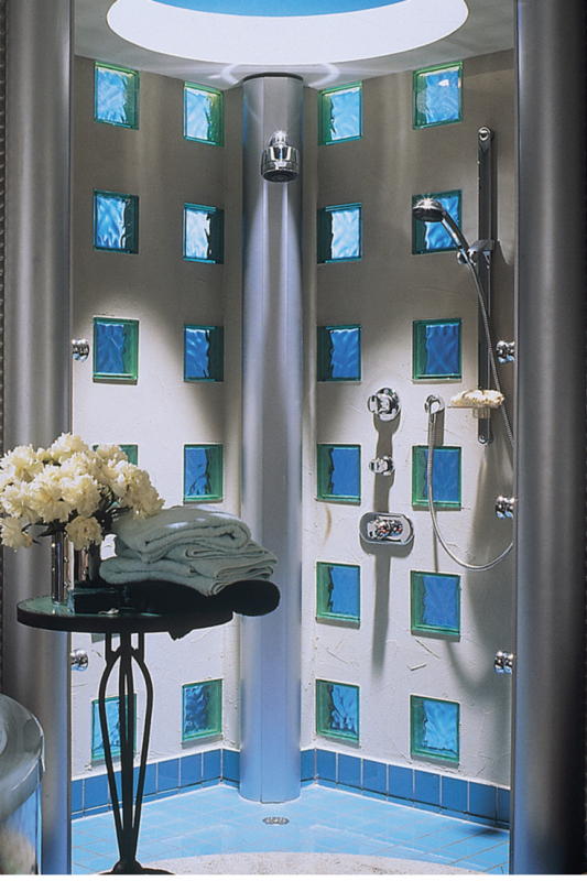 Modern shower with colored glass blocks and a circular skylight