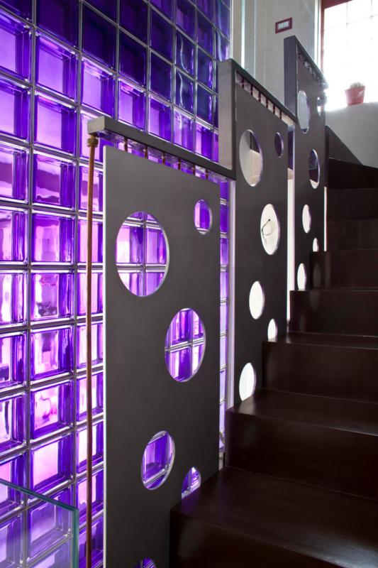 Modern hallway with glass blocks