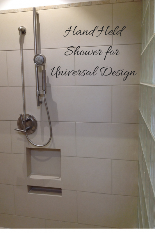 Hand held shower for an accessible shower design