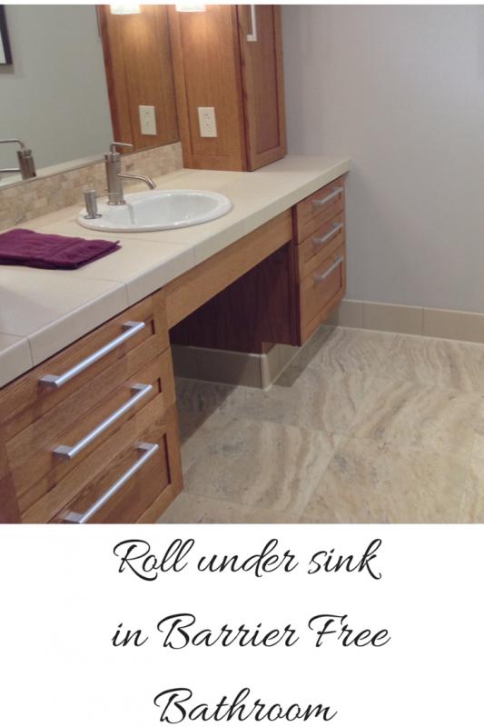 Roll under sink for an handicap bathroom
