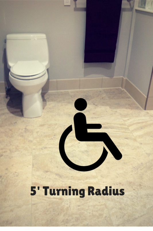 5 Foot turning radius for an accessible bathroom