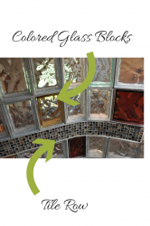 Colored and curved glass blocks with a tile row