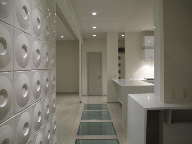 Circular wall tiles in modern home Kansas City missouri